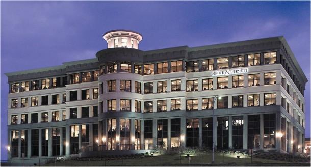 Crescent Office Building in Birmingham, Alabama at night